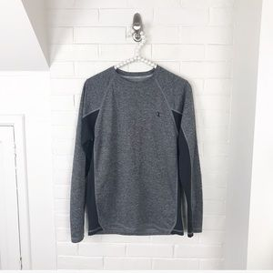 {Champion} Mens Grey Long Sleeve Athletic Top
